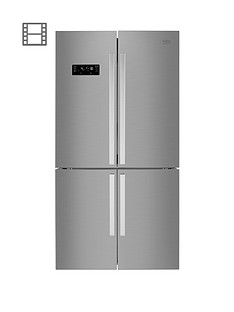 Beko MN1416224PX 91cm Wide, Total No Frost, 4-Door American Fridge Freezer - Brushed Steel