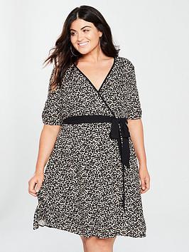 v by very curve wrap dress - animal print