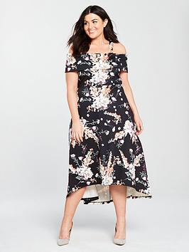 V By Very Curve Bardot Dipped Hem Dress