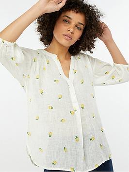 monsoon-lemon-print-linen-gauze-top-white