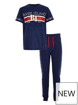 river-island-boys-navy-ri-branded-tape-pyjama-set