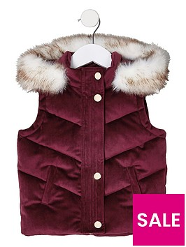 river-island-mini-girls-berry-velvet-hooded-gillet