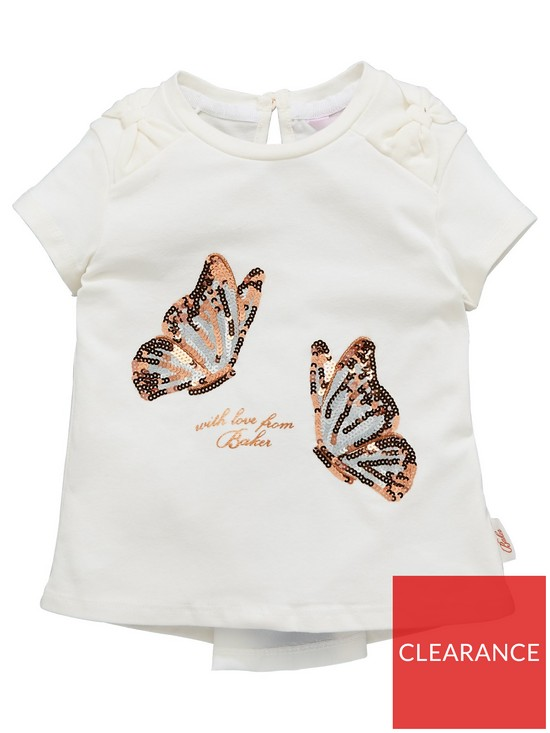 a835b63696d5f Baker by Ted Baker Toddler Girls Rose Graphic Sequined Short Sleeve T-Shirt  - White