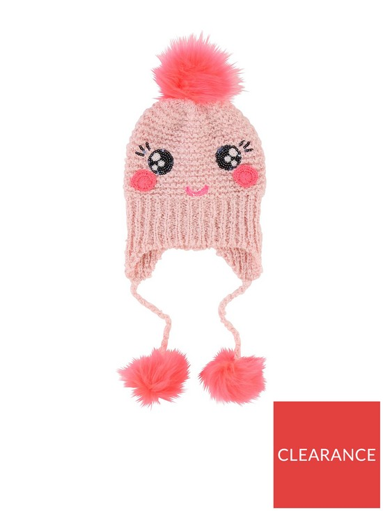Billieblush Girls Knitted Sequin Pom Pom Hat  638450893c2