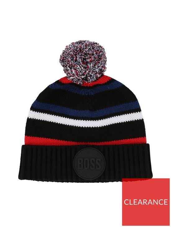 BOSS Younger Boys Striped Bobble Hat - Navy  48ef58cef6e