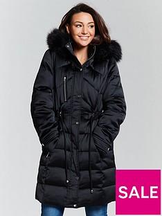 5c47fb7c9acd4 Michelle Keegan Premium Padded Long Line Coat - Black