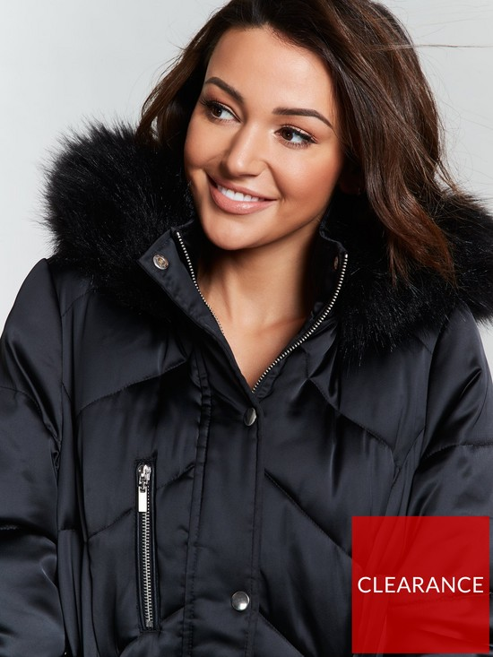 beb2ce7d5ab Premium Padded Long Line Coat - Black