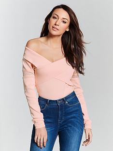 michelle-keegan-cross-over-bardot-knit-jumper-blush-pink