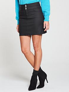 v-by-very-coated-deep-waistband-zip-skirt-black