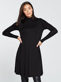 v-by-very-roll-neck-swing-dress-black