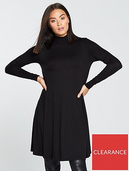 v-by-very-roll-neck-swing-dress-black