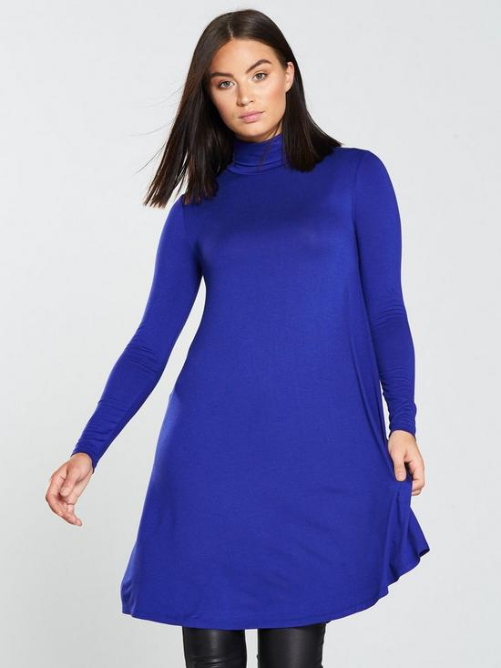 2cd0efa13238 V by Very Roll Neck Swing Dress - Electric Blue | very.co.uk
