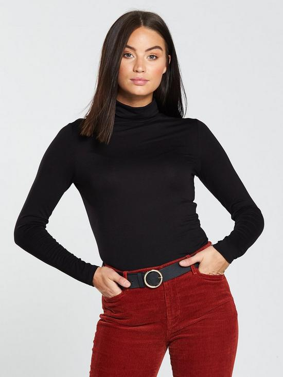 Jersey Roll Neck Top – Black