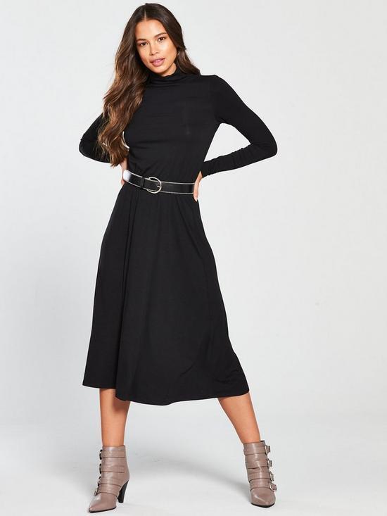 ada4740b084 V by Very Roll Neck Midi Dress - Black