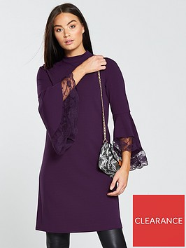 v-by-very-bell-sleeve-lace-longlinenbspdress-berry
