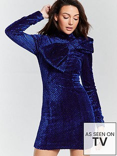 michelle-keegan-bow-detail-mini-dress-blue