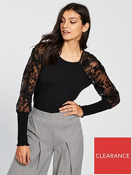 v-by-very-lace-mutton-sleeve-top-black