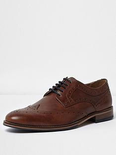 river-island-dark-brown-leather-brogues