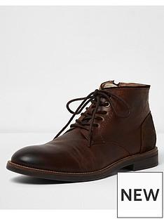river-island-dark-brown-leather-chukka-boot