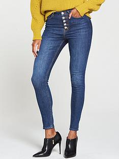v-by-very-ella-high-waisted-exposed-button-front-skinny-jean-dark-wash