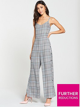 river-island-river-island-popper-leg-check-jumpsuit--grey