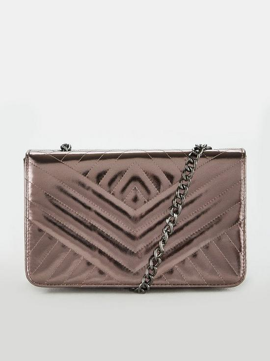 a35dac7f7 V by Very Pippa Quilted Crossbody Bag - Chrome Silver | very.co.uk