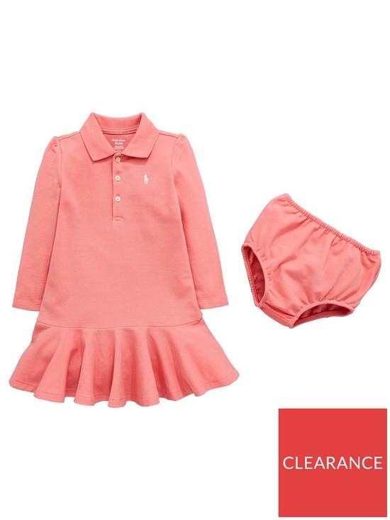 dca8fd091513 Ralph Lauren Baby Girls Classic Polo Dress - Pink