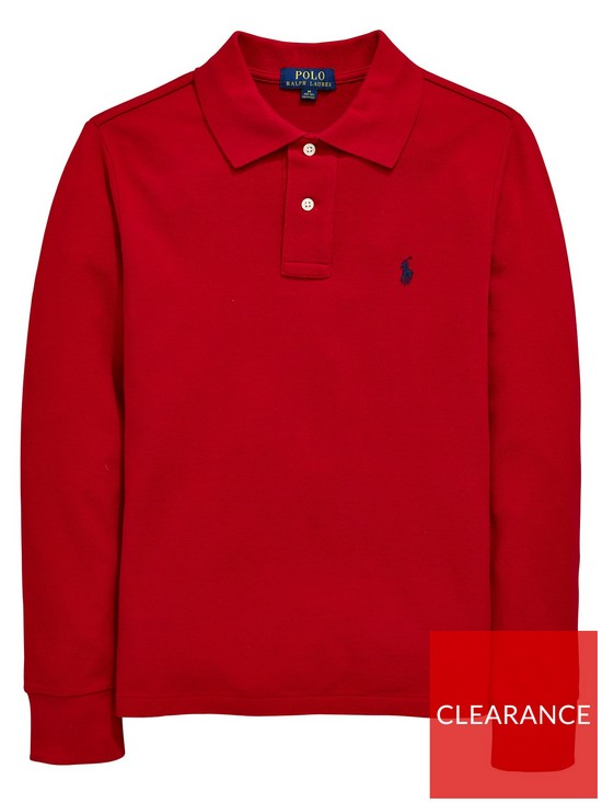 bf7f27fc Ralph Lauren Boys Classic Long Sleeve Polo Shirt - Red | very.co.uk