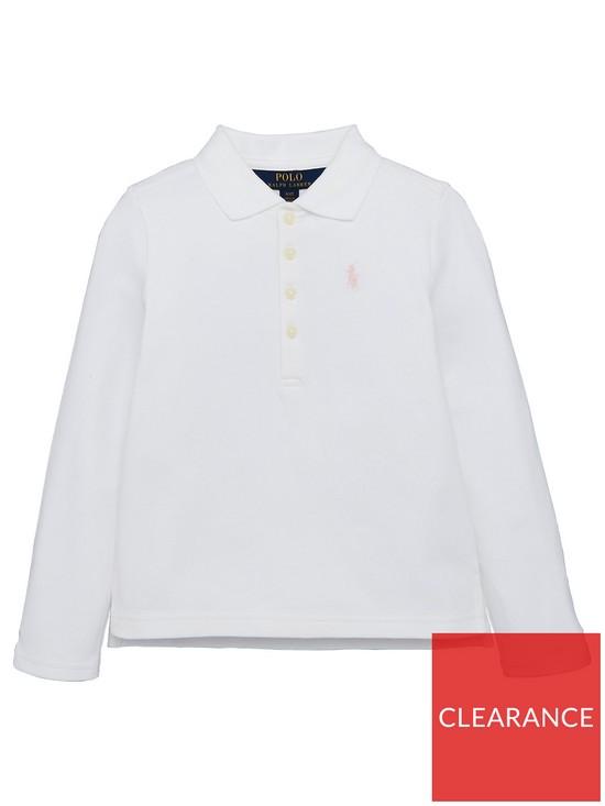 437c5088 Ralph Lauren Girls Long Sleeve Classic Polo Shirt - White   very.co.uk