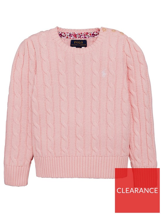 536e913f5 Ralph Lauren Girls Classic Cable Knit Jumper - Pink
