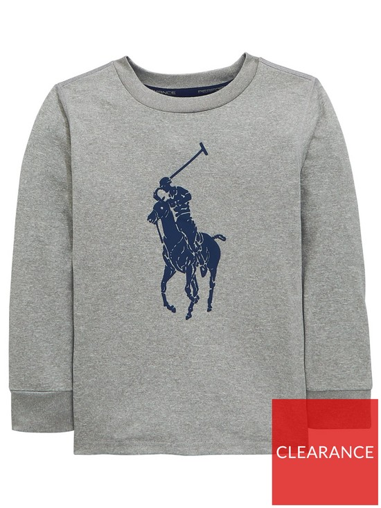 66744438603d Ralph Lauren Boys Big Pony Long Sleeve T-Shirt - Andover Heather ...