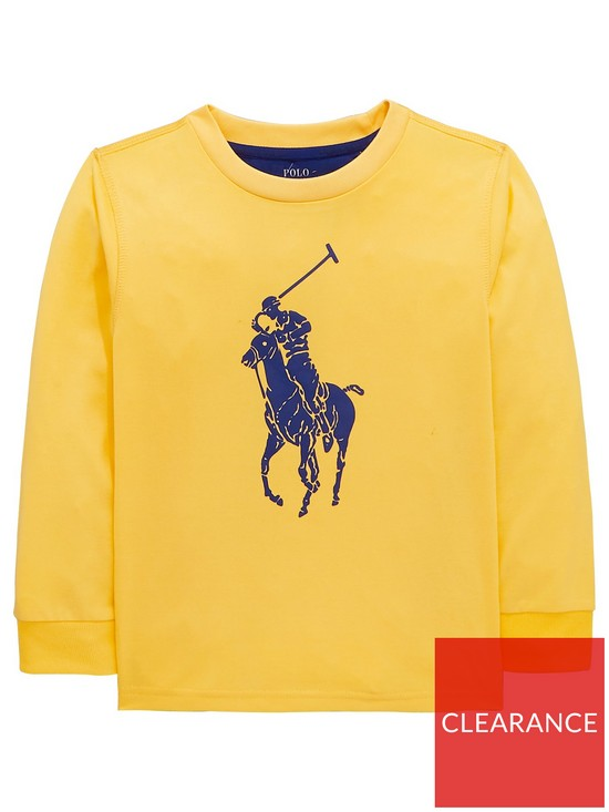 25130b0a2b10 Ralph Lauren Boys Big Pony Long Sleeve T-Shirt - Yellow
