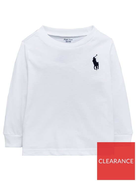 ecdca567c654 Ralph Lauren Baby Boys Big Pony Long Sleeve T-Shirt - White