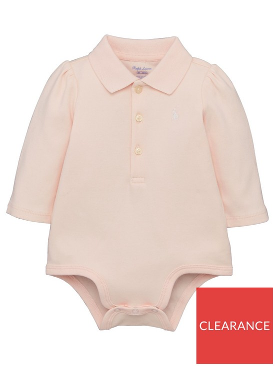 cc4e5844c Ralph Lauren Baby Girls Polo Bodysuit - Pink | very.co.uk