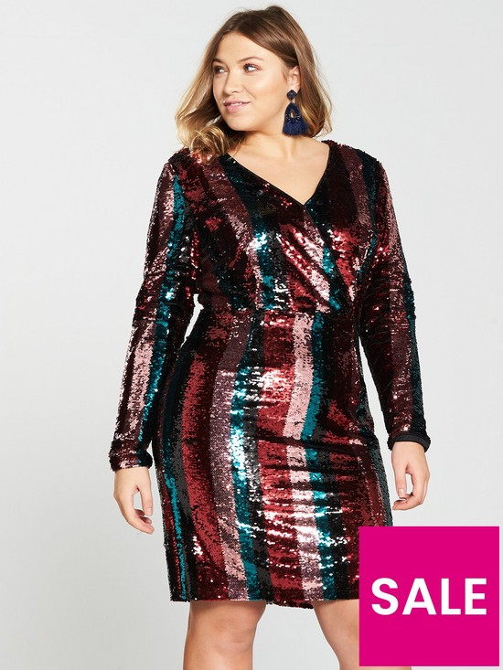 cb2825bcb V by Very Curve Stripe Sequin Dress - Multi