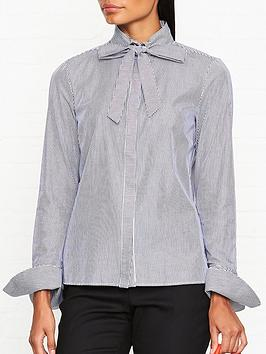 armani-exchange-pussybow-cotton-stripe-shirt-navywhite