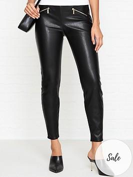 armani-exchange-zip-detail-faux-leather-leggings-black