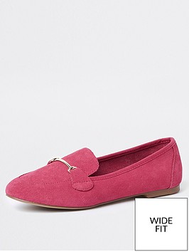river-island-river-island-suede-wide-fit-loafers--pink