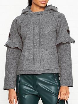 armani-exchange-ruffle-sleeve-wool-hoodie-grey