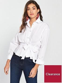 river-island-tie-waist-shirt--white