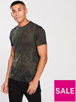 river-island-dark-green-palm-print-slim-fit-t-shirt