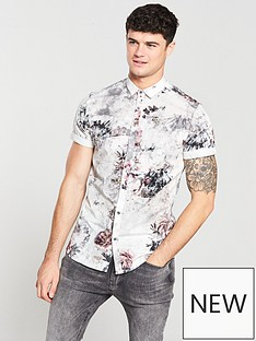 river-island-light-grey-floral-print-slim-fit-shirt