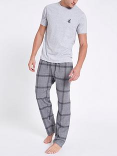 river-island-grey-ri-embroidered-check-pyjama-set