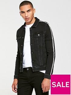 river-island-black-taped-muscle-fit-denim-jacket
