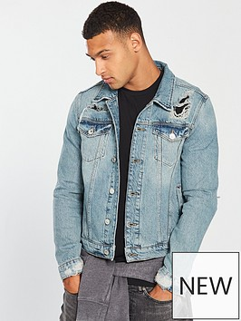 river-island-blue-classic-fit-ripped-deinm-jacket