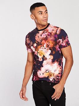 river-island-pink-slim-fit-floral-t-shirt