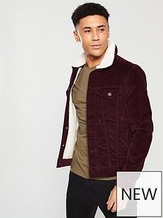 river-island-chunky-cord-borg-lined-jacket-berry