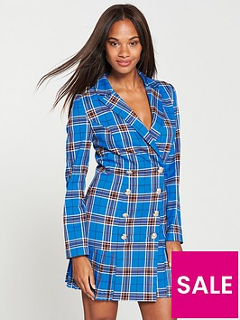 v-by-very-checked-tux-dress-printed