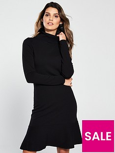 v-by-very-roll-neck-long-sleeve-fit-and-flare-knitted-dress-black