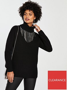 v-by-very-diamante-drop-fisherman-rib-roll-neck-jumper-black